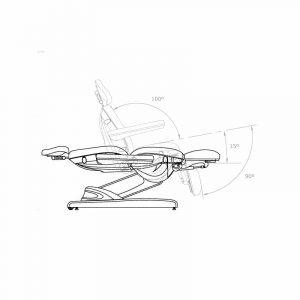 Skizze Kosmetikliege Olinda seitlich mit Rückenlehne und Fußteil